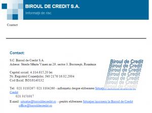 date de contact Biroul de Credit