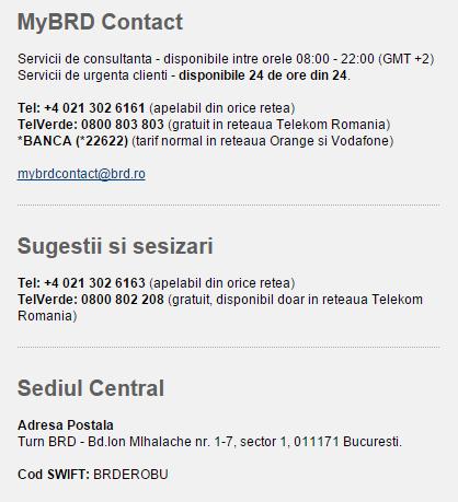 Date de contact BRD