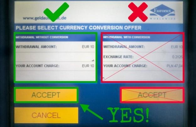 Pentru a evita aceasta conversie dezavantajoasa, trebuie doar sa selectati la ATM, atunci cand va apare mesajul de conversie, valuta locala, adica lei, nu euro, asa cum se vede in fotografia de mai sus.
