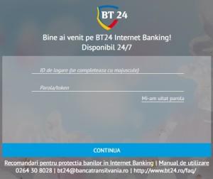 Interfata serviciului de internet banking BT24